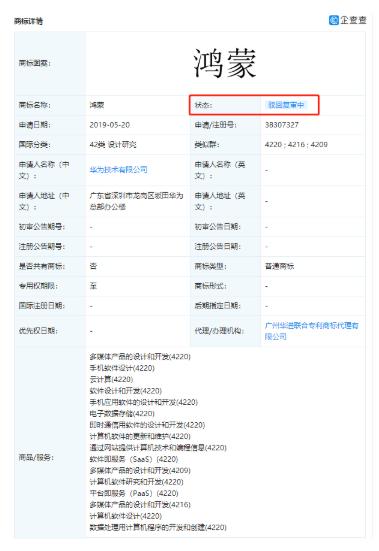 华为鸿蒙商标被驳回复审:具体原因是什么?
